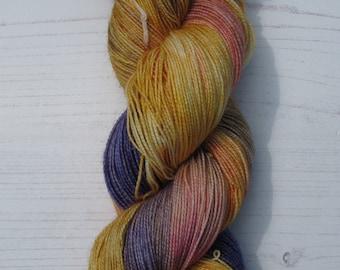 "2 Ply ""Reign "" hand dyed high twist yarn."