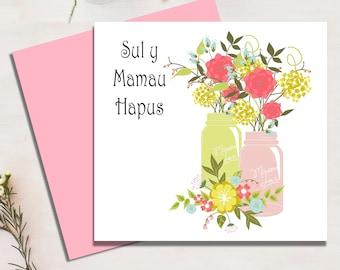 Happy Mother's Day Card, Sul y Mamau Hapus, Welsh Mother's Day Card, Welsh Language