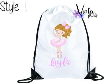 Personalised Ballerina Bag, PE Bag, Swim bag, School Bag, Childrens Bag, Drawstring bag Back to School