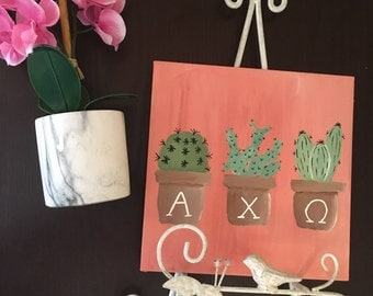 Custom Sorority Cactus Canvas | 8 x 8 in | Custom Sorority Gear |  Hanging Wall Art/Decor