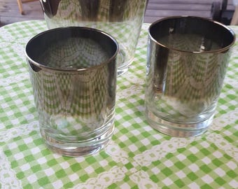 Queens Lusterware Ice Bucket and Rocks Glass Set 1960s