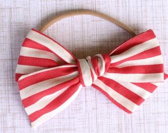 OVERSIZED Pink/White Stripe Bow