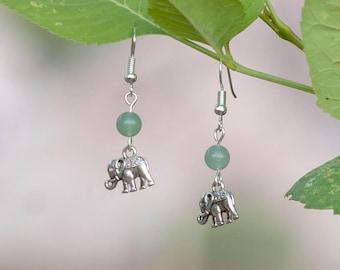 Green Adventurine Elephant Earrings