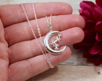 Sterling Silver Moon and Stars Charm - Crescent Moon Charm - Stars and Moon - Make Your Own Charm Necklace