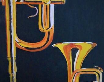 Brass Trumpet Acrylic Canvas