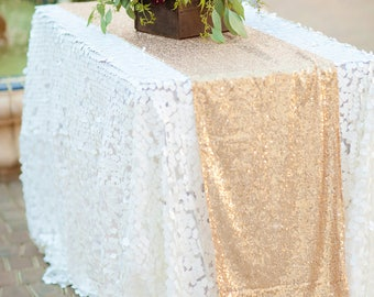White Sequin Tablecloth | sequin table linen | sequin tablecloth | sequin table cover | wedding table decor | sequin runner | glam wedding