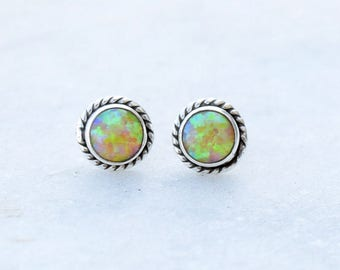 Opal earrings, opal stud earrings, minimalist, dainty, every day earrings, Yellow Opal Stud , Opal Ear Stud, Girls Stud, Women Stud,