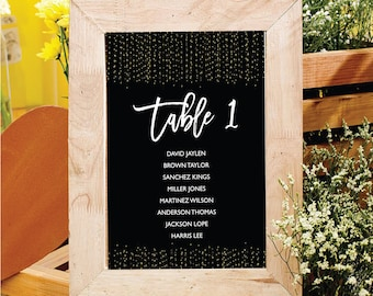 Wedding Seating Chart Template, Wedding Seating Printable, Table Plan, Table Cards, Seating Cards, Seating Chart Download, Gold table cards