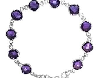 Natural 18 cttw Purple Amethyst Sterling Silver Bracelet February Birthstone Gemstone Jewelry