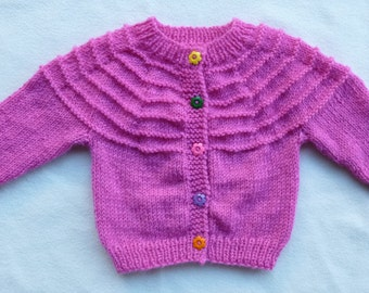 Baby Girls Cardigan Hand Knitted Pink Size Approx 4 - 6 months (Check Measurements Diagram)
