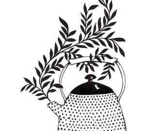 Kitchen Wall Art Print - Illustration Print - Teapot Illustration - Wall Art - Home Decor - Gallery Wall - Housewarming Gift - Wall Decor