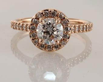 Engagement ring, (00791), Supernova Moissanite, Round diamond, Moissanite, Halo Ring, Custom made, Other stone and metal available