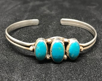 Vintage Old Pawn Sterling SIlver and Turquoise Bracelet Signed