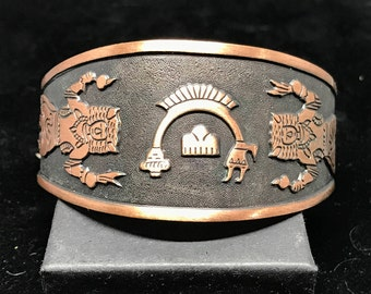 Vintage Old Pawn Copper Yei Cuff MARKED