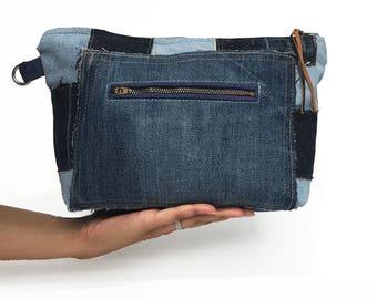 Large denim clutch bag, recycled denim, denim purse, denim bag, oversized clutch, jeans, upcycled, denim zipper pouch, denim wristlet