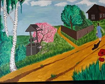 Large canvas wall art Village, original acrylic artwork, acrylic painting landscape, nature art canvas, contemporary artwork, custom art