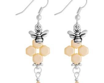 Honeybee Earrings Kit with Swarovski Crystals - Cream