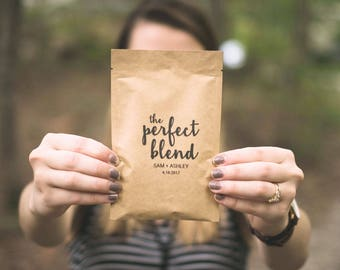 The Perfect Blend-Love is Brewing Coffee Wedding Favor Bags-Coffee Favor Bags-Coffee Bridal Shower Gifts for guests-Personalized Favor Bags