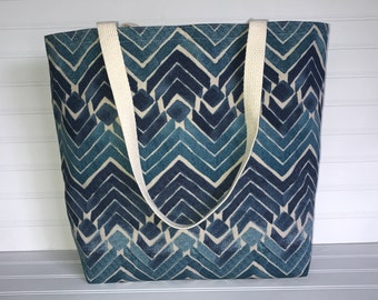 Handmade Everyday Tote | Market Bag |  Blue Modern Chevron Tote