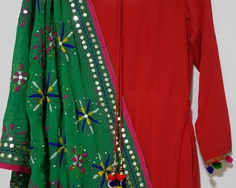 Green Phulkari fulkari multi coloured star Embroidered georgette dupatta (scarf), bridal wear, party wear, suit, lehenga, anarkali