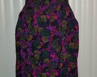 VTG Paisley Pencil Skirt Midi Skirt Gypsy Boho Skirts Vintage 80s 90s Skirts