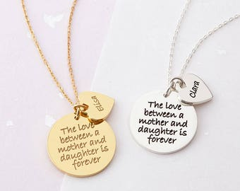 The Love Between A Mother And Daughter Is Forever Necklace -Engraved Mom Necklace - Mother Daughter Necklace - Gift for Mother from Daughter