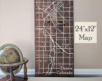Denver Map Wall Art, Large Wooden Map, Denver City Map, Denver Map, Wooden Street Map, Custom Painted Map, House Address Map by Novel Maps