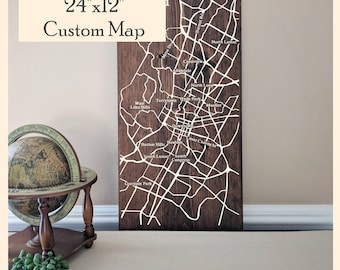 Custom Map, Large Wood Map, Personalized Map, Custom City Map Gift, Wall Art, Wedding Gift, Engagement Gift, Housewarming Gift by Novel Maps