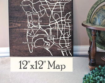 San Diego Map, Large Wood Map, San Diego City Map, San Diego Wall Art, San Diego Wood Map, Personalized Map, Custom City Map by Novel Maps