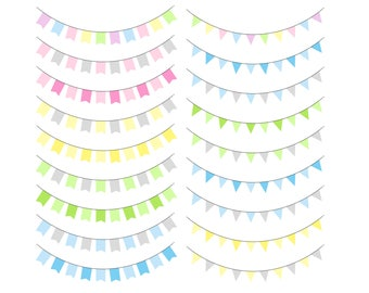 80% OFF SALE Commercial use, Banner clipart, Bunting flags clipart, Party bunting clip art, Digital banner flag, Party banner clipart GRPS5