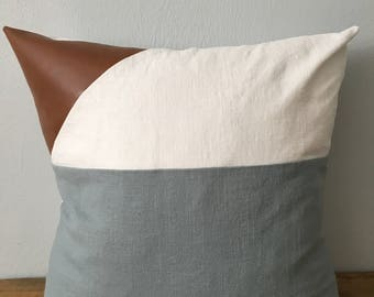 Modern faux leather and linen pillow cover