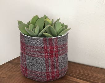 Plaid flannel plant holder