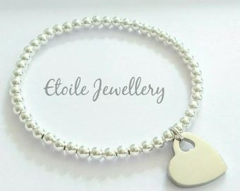 Silver Heart Bracelet, Stretch Bracelet,Heart Charm,Ball Bracelet, Bracelets for Women,Heart Bracelet, Beaded Bracelet