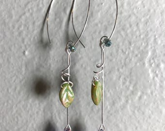 Purple iridescent drop with green leaf ear wire