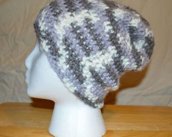 Gray & White Crochet Hat