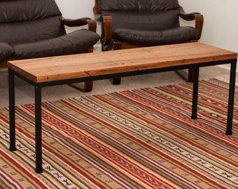 Coffee table / side table, reclaimed hardwood timber top, metal table legs