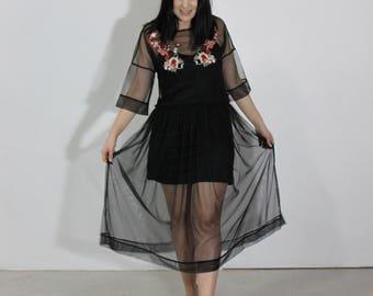 Mesh dress, Embroidered dress, Black dress, Embroidered mesh, Black mesh dress, Overlay dress, Women's dress