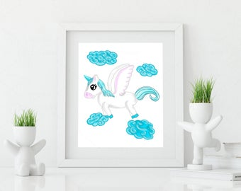 cute Unicorn • Pegasus • winged horse • Nursery room • decoration • Baby • Kids • Facility • JPG • printing • digital file • wing unicorn •