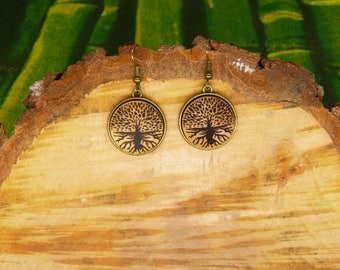 "Soul slices ""Tree of life 1"" wooden metal hanging earrings 20 mm"