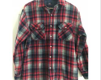 Vintage Flannel Plaid Shirt Jacket Men's Red & Blue Plaid Shirt 90s Grunge Flannel Lined Shirt Hipster Jacket Plaid
