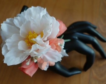 Peach and white Wedding Wrist Corsage