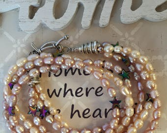 Natural Fresh Water Pearl-Three strands pearls and stars