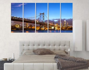 Philadelphia Ben Franklin Bridge canvas art print, Large Wall Art framed, 3 pieces ready to hang, Philadelphia wall art office decor, s126
