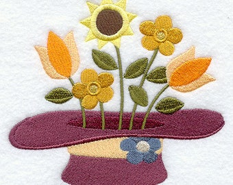 American Folk Flowers Hat, Embroidered Tea Towel, Floral Dish Towel, Housewarming Gift, Kitchen Towel