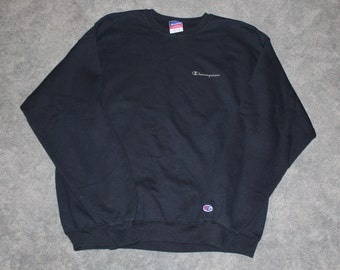Vintage 90s Clothing Champion Brand Mens Size XL Or Oversized Womens All Black Long Sleeve Script
