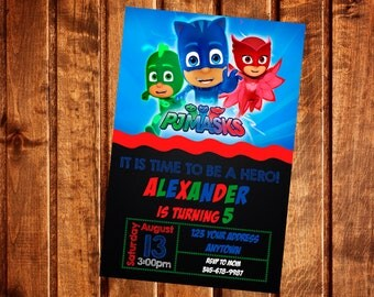 PJ MASKS Invitation, PJ mask Birthday Party Invitation, pj mask Invite, Printable, Digital file