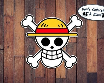 One Piece Luffy Head Pirate Jolly Roger Symbol Shonen Jump Anime Manga Skull Cross Bones Sticker Decal Joke Funny Kids Japanese