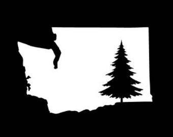 Washington Tree Decal, Washington Decal, Washington Sticker, Washington Pride Decal, PNW Decal, Tree Sticker, Tree Decal, Tree Silhouette