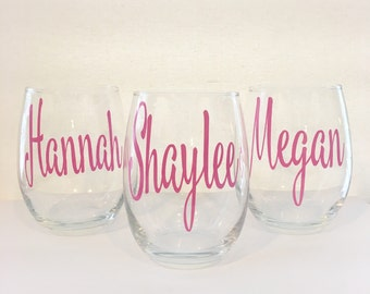 Set of 9+ Bridal Party Wine Glasses | Personalized Wine Glasses | Custom Wine Glass | Wedding Gifts | Bridesmaid Gift | Gift For Her |