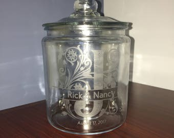Etched Engraved Personalized Glass Cookie Flour Sugar Jar Half, One or Two Gallon Sizes w/ Monogram Names & Dates for Wedding or Anniversary